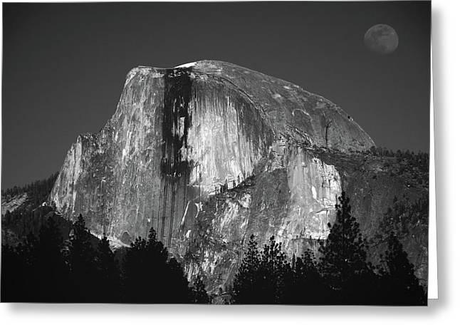 Half Dome Moonrise Greeting Card by Raymond Salani III