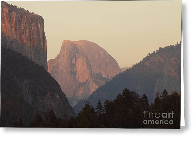 Greeting Card featuring the photograph Half Dome Rising In Distance by Max Allen