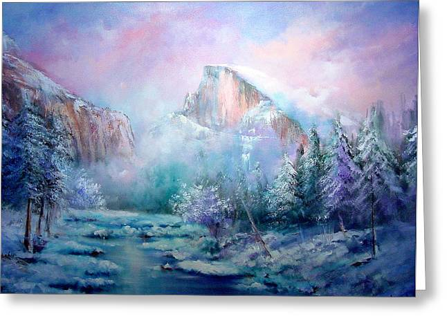 Half Dome Snow Greeting Card by Sally Seago