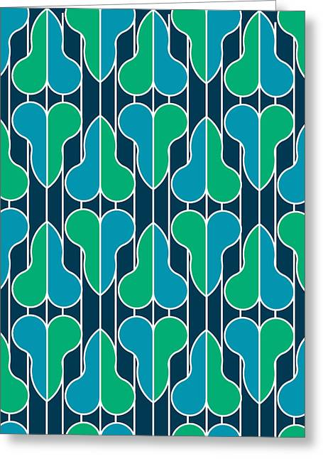 Half Hearts - Blue And Green Greeting Card by Soran Shangapour
