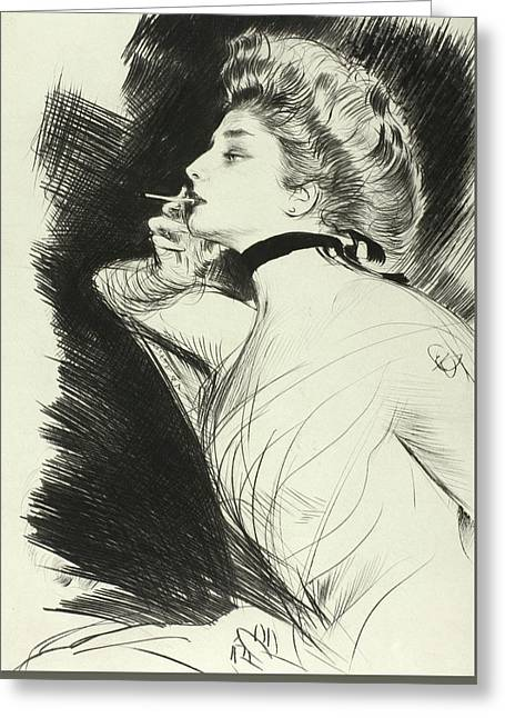 Half Length Portrait Of A Seated Woman, Smoking A Cigarette, Facing Left Greeting Card