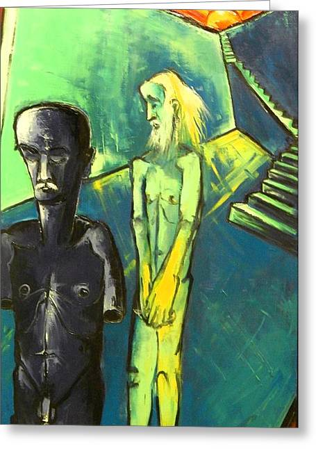 Greeting Card featuring the painting Half Man And Bearded Man by Kenneth Agnello