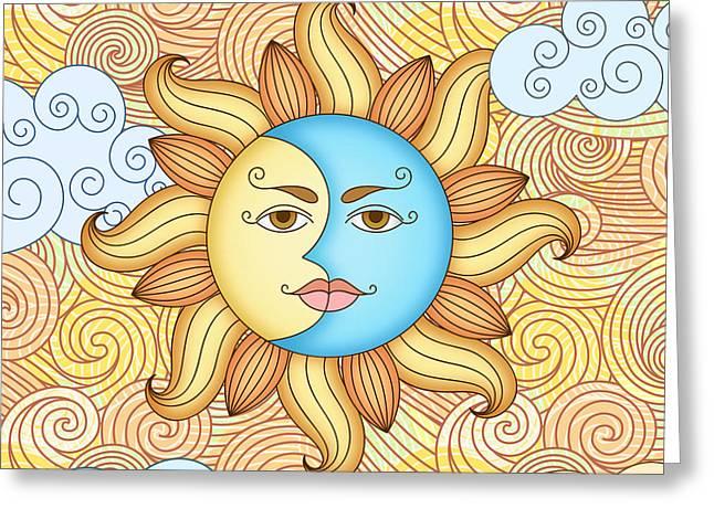 Half Moon And The Sun Greeting Card