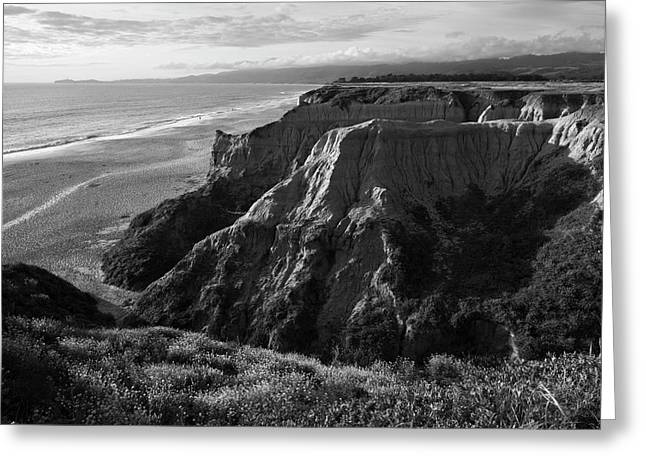 Half Moon Bay II Bw Greeting Card