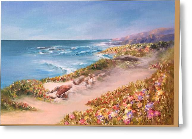 Half Moon Bay, Spring Blossoms Greeting Card by Donna Pierce-Clark