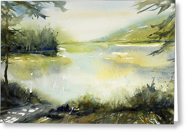 Half Moon Pond Greeting Card by Judith Levins