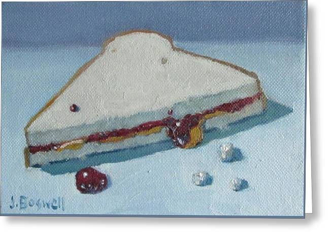 Greeting Card featuring the painting Half Pb And J With Crumbs Series 5 by Jennifer Boswell