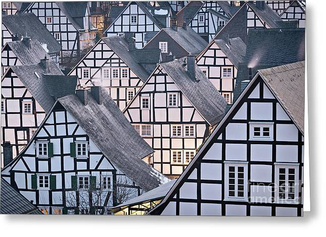 Greeting Card featuring the photograph Half-timbered Houses In Detail In Germany by IPics Photography