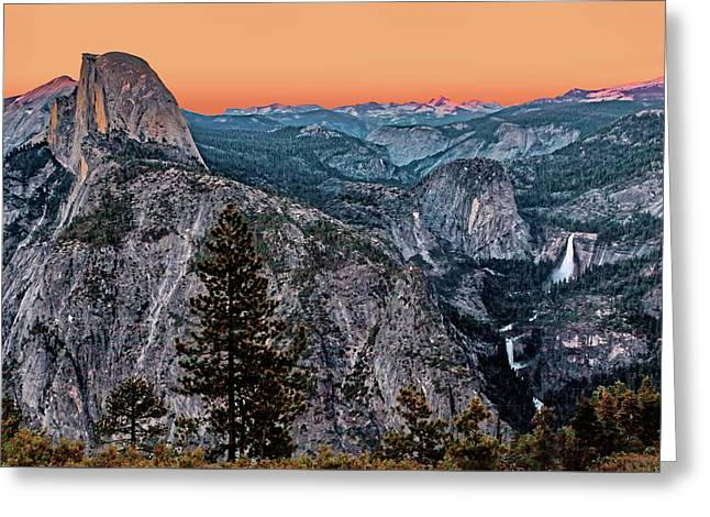 Halfdome And The Waterfalls At Sunset Greeting Card by Dan Carmichael