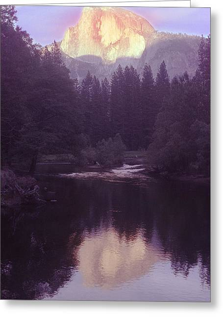 Halfdome Over The Merced Greeting Card