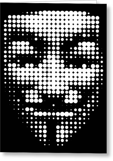 Halftone Anonymous Face  Greeting Card