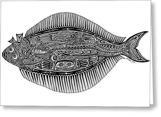 Diving Drawings Greeting Cards - Halibut Greeting Card by Carol Lynne