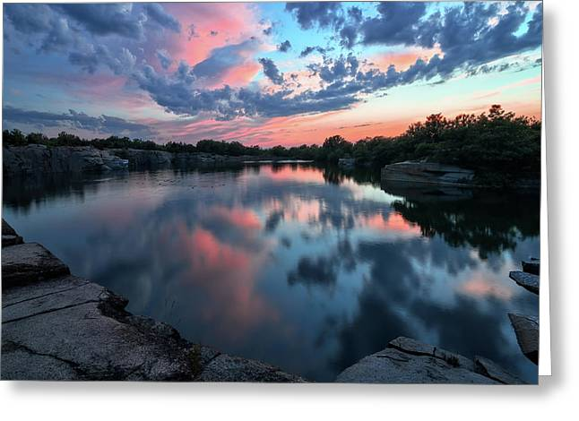 Halibut Pt Quarry Reflection Rockport Ma Greeting Card