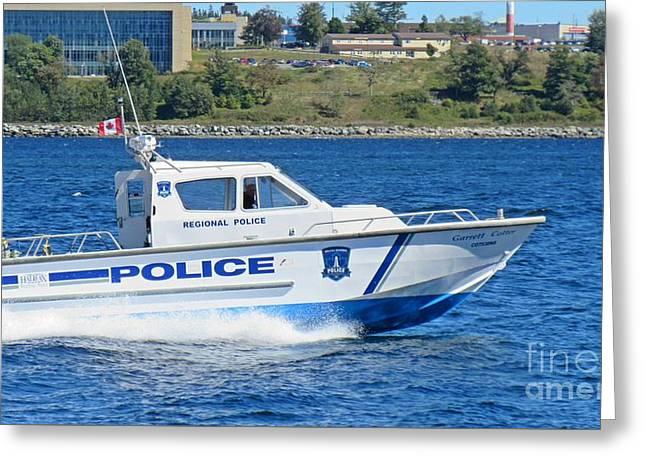Halifax Regional Police Force Harbor Patrol Boat Greeting Card