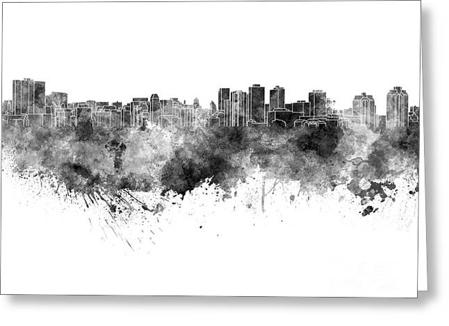 Halifax Skyline In Black Watercolor On White Background Greeting Card by Pablo Romero
