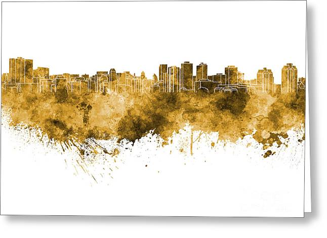 Halifax Skyline In Orange Watercolor On White Background Greeting Card by Pablo Romero