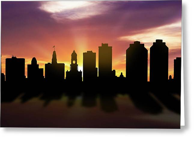 Halifax Skyline Sunset Canshx22 Greeting Card by Aged Pixel
