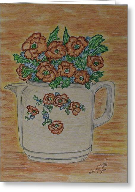 Greeting Card featuring the painting Hall China Orange Poppy And Poppies by Kathy Marrs Chandler