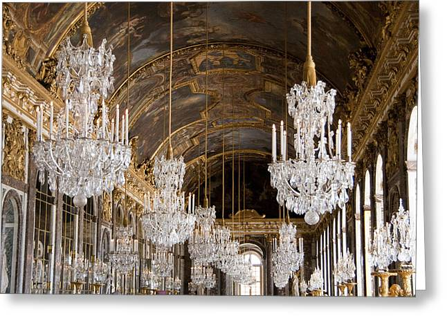 Hall Of Mirrors Palace Of Versailles France Greeting Card by Jon Berghoff