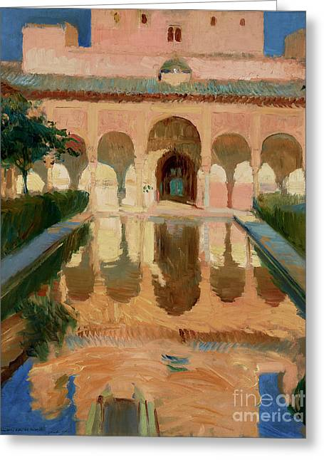 Hall Of The Ambassadors, Alhambra, Granada By Joaquin Sorolla Y Bastida Greeting Card