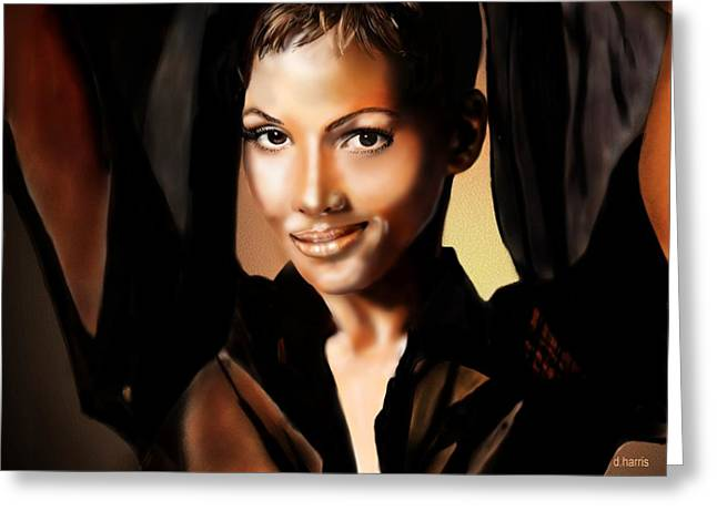 Halle Berry - 01 Greeting Card by Dwayne Harris