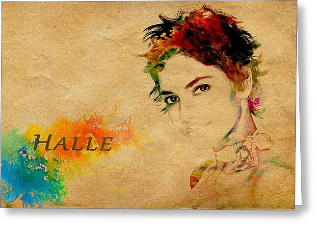 Halle Berry  Greeting Card by Manjot Singh Sachdeva