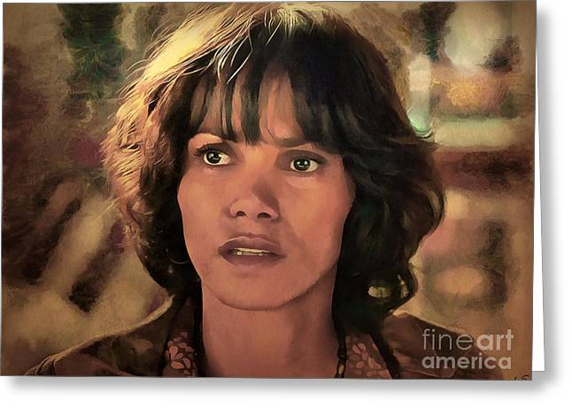 Halle Berry Greeting Card by Sergey Lukashin