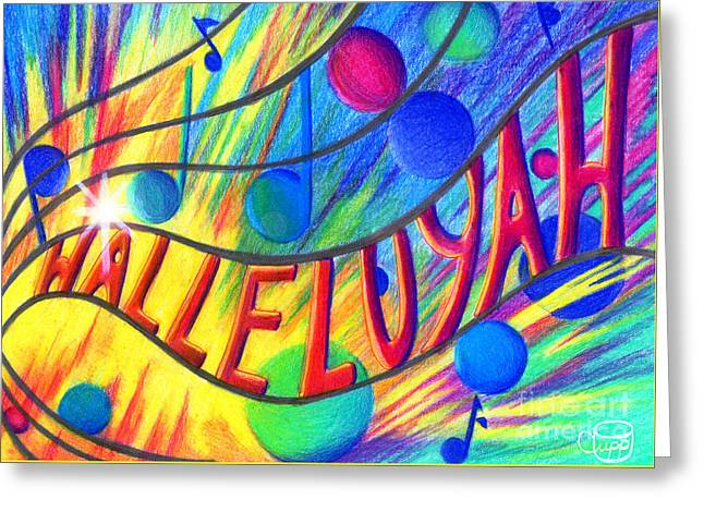 Greeting Card featuring the painting Halleluyah by Nancy Cupp