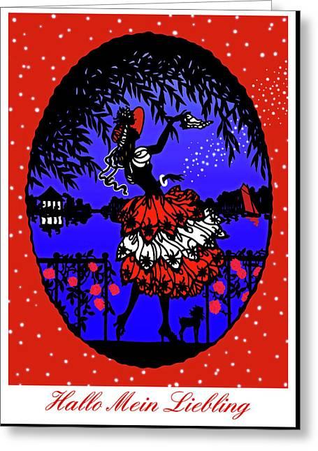 Hallo Mein Liebling - Vintage Illustration Greeting Card