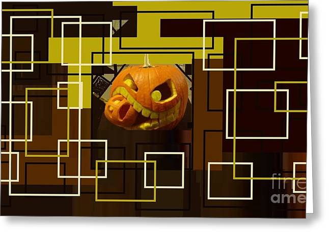 Halloween Digital Collage Greeting Card by Catherine Lott