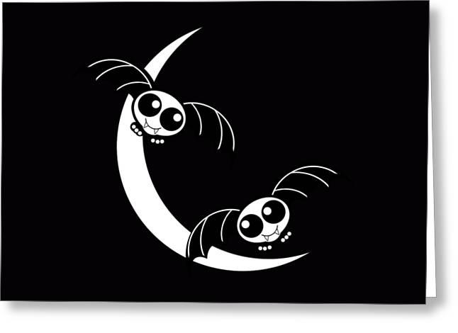 Halloween Bats And Crescent Moon Greeting Card