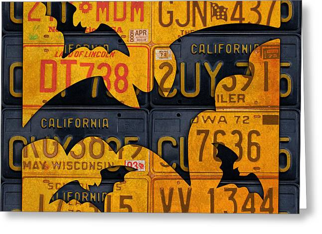 Halloween Bats Recycled Vintage License Plate Art Greeting Card