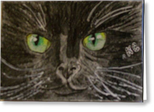 Greeting Card featuring the painting Halloween Black Cat I by Kathy Marrs Chandler