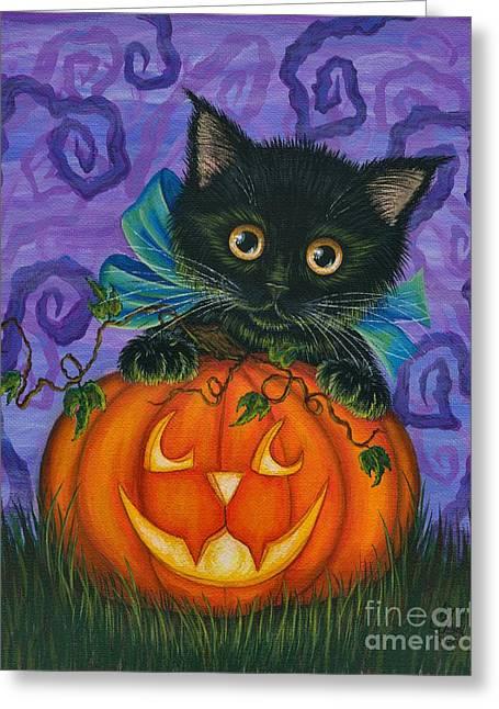 Halloween Black Kitty - Cat And Jackolantern Greeting Card