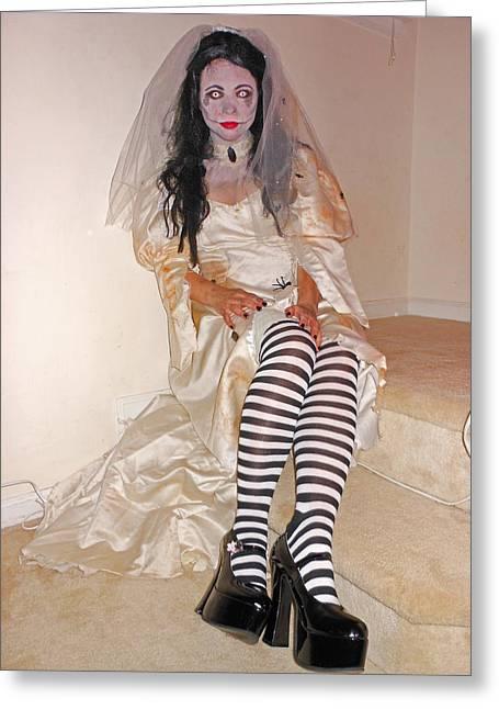 Halloween Bride Greeting Card by Beebe  Barksdale-Bruner
