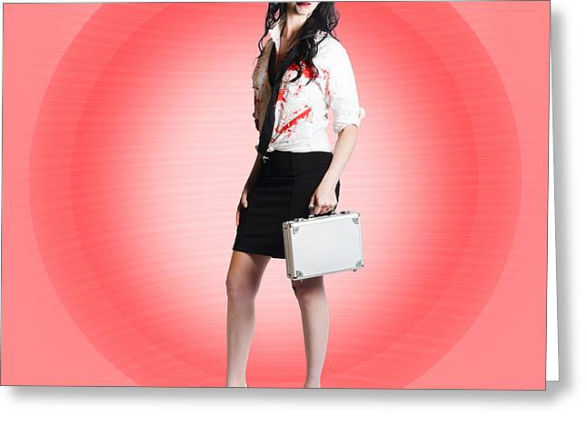 Halloween Business Girl With Dead End Job Greeting Card by Jorgo Photography - Wall Art Gallery