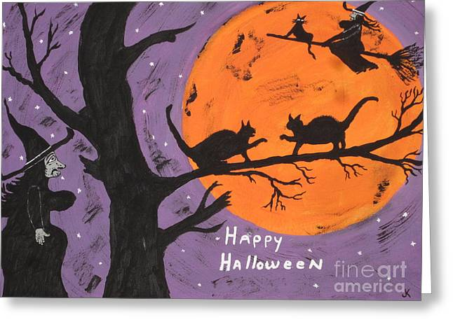Halloween Cat Fight Greeting Card by Jeffrey Koss