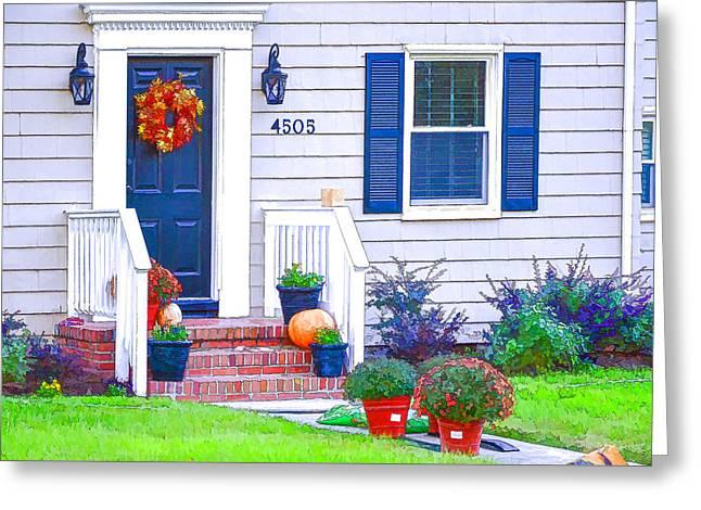 Halloween Decorated Front Door Greeting Card
