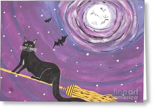 Halloween Flying  Black Cat Greeting Card by Jeffrey Koss