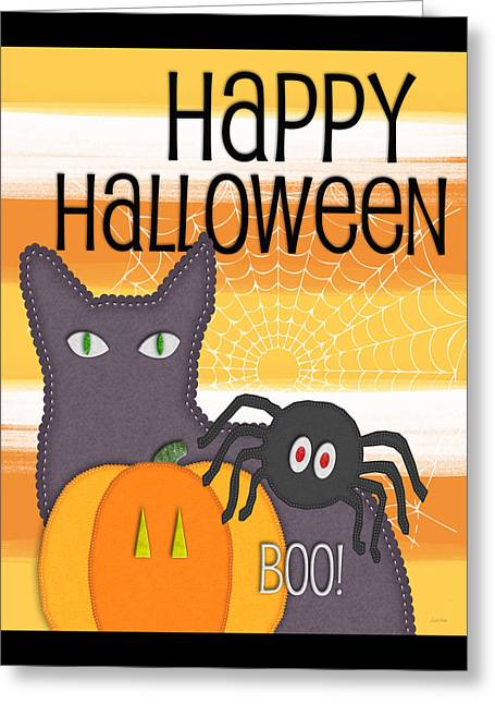 Halloween Friends- Art By Linda Woods Greeting Card
