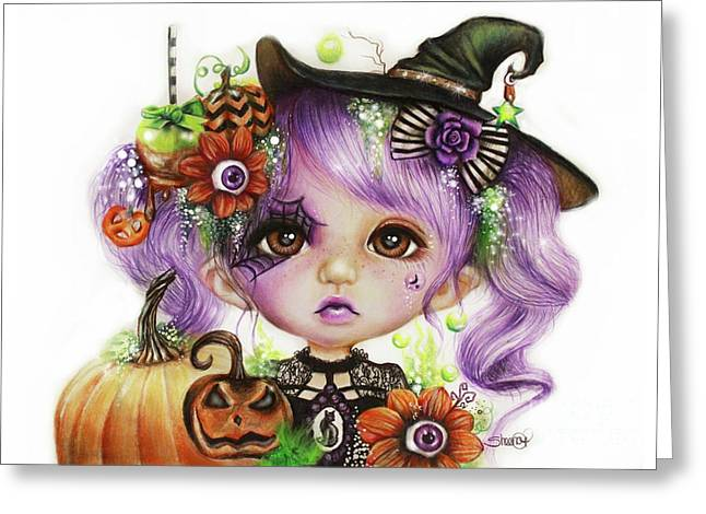 Greeting Card featuring the drawing Halloween Hannah - Munchkinz Character  by Sheena Pike