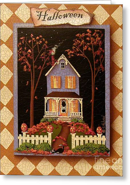 Halloween Hill Greeting Card by Catherine Holman