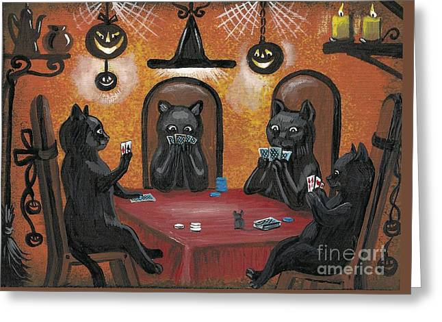 Halloween Hold Em Greeting Card by Margaryta Yermolayeva