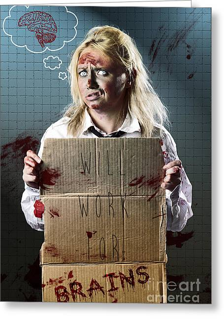Halloween Horror Zombie With Unemployed Sign Greeting Card by Jorgo Photography - Wall Art Gallery