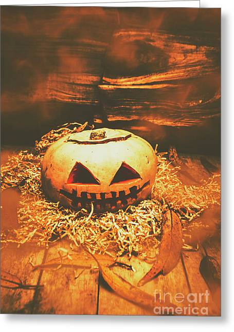 Halloween In Fall. Still Life Pumpkin Head Greeting Card