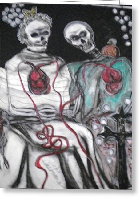 Halloween Love Greeting Card by Victoria Hasenauer