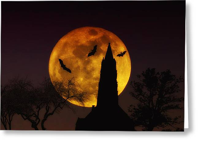 Bat Digital Greeting Cards - Halloween Moon Greeting Card by Bill Cannon