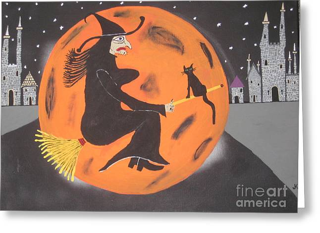 Greeting Card featuring the painting Halloween Night At Disneyland by Jeffrey Koss