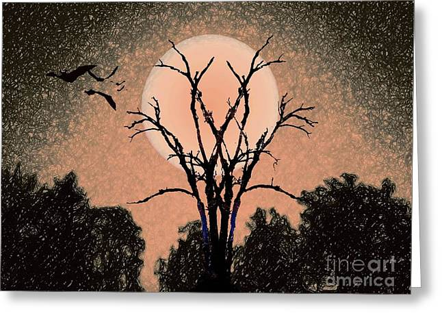 Halloween Night Greeting Card by Desiree Paquette