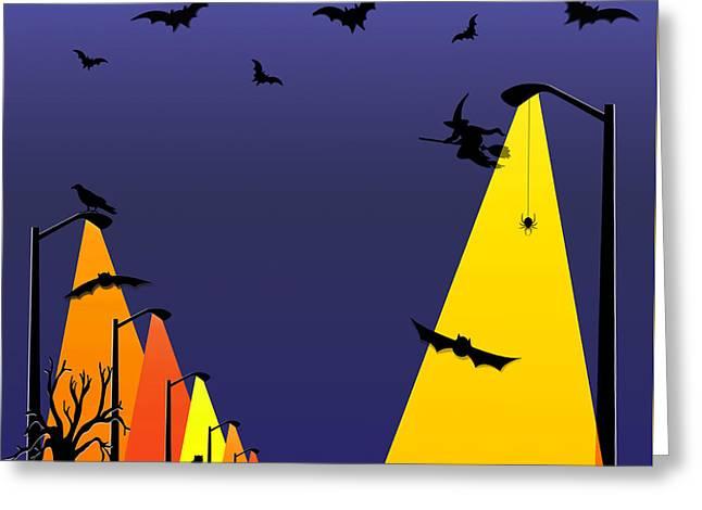Halloween - Night Of Fun Greeting Card by Steve Ohlsen